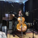Kim Porcelli recording Cello at Audioland.